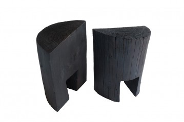 Set of 2 Casetta Charred side table